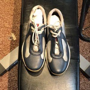 Used Prada cup sneakers navy blue